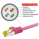 rocabo 3m CAT 7 - Patchkabel Netzwerkkabel LAN-Kabel - 2x RJ45 Netzwerk-Stecker - Ethernet Gigabit LAN Switch Router - S/FTP (PiMF) Schirmung - LSZH Halogenfrei - magenta -
