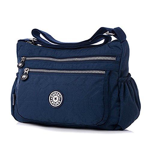 Foino Borsa Tracolla Leggero Sacchetto Donna Impermeabile Borse a Spalla Borse da Moda Borsello Casuale Borsetta Viaggio Sport Bag Blu 1