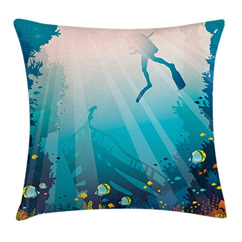 HLKPE Sea Life Throw Pillow Cushion Cover, Silhouette of a Scuba Diver Sunken Ship and Coral Reef, Decorative Square Accent Pillow Case, Pale Slate Blue Teal and Multicolor,26 X 26 Inches -