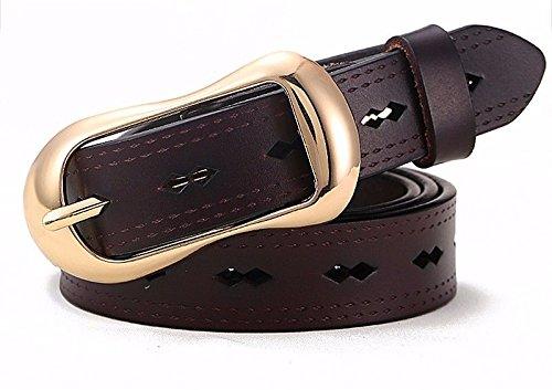 105cm41 Creux En Cuir Ceinture Trim 3'' Brunq Boucle Or Casual Erlingsan Jeans Dame Yd Simple luFKJ31Tc