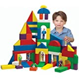 Cp Toys 82 Pc. Multi Colored Hardwood Unit Blocks Set With 13 Different Shapes In 7 Colors
