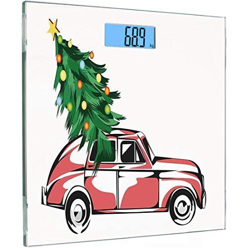 Ultra Slim Hochpräzise Sensoren Digitale Körperwaage Weihnachten Gehärtetes Glas Personenwaage, Retro Classic Red Car mit großen Weihnachtsbaum mit Stern und Lichter Cartoon Prints, Weiß Rot -