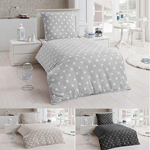 2 tlg Warme Bettwäsche Microfaser Flanell 135x200 Winter Sterne Kissenbezug , Farbe:Silber