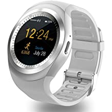 ZOMTOP Y1 SmartWatch Bluetooth - HD IPS de pantalla táctil de teléfono celular de pantalla con SIM TF ranura para tarjeta SmartWatch Pedometer Monitor de sueño remoto para Android (Blanco)