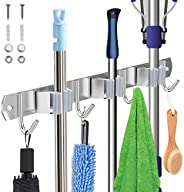 Tobeape® Stainless Steel Wall Mount, Broom Mop Holder Heavy Duty Tool Storage Organization, Screws Drilling Or Self-adhesive