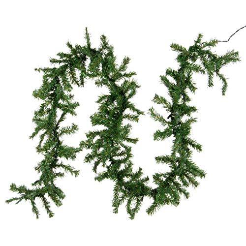 Nipach GmbH Weihnachtsgirlande mit 35er Mini-Lichterkette - Weihnachtsdeko Dekogirlande Tannengirlande Tannenzweig grünes Kabel innen - 2,7 m Xmas
