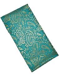 Blue Dove Coussin de yoga Brocart de soie Housse intérieure en coton Garnissage graines de lin/lavande