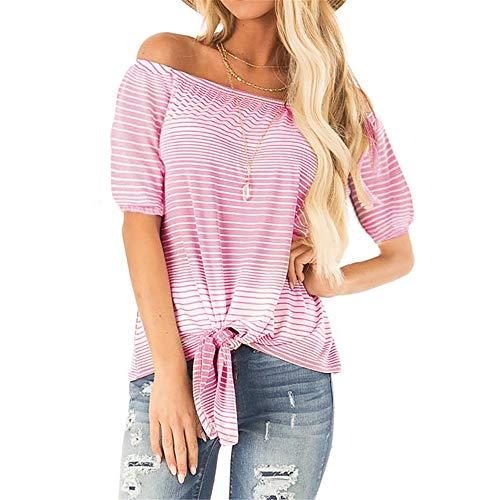 Stil & Co-woman-stretch Gürtel (Damen T-Shirt Rundhals Kurzarm Ladies Sommer Casual Oberteil Locker Bluse Tops,Schulterfreie Krawatte mit rosa Streifen XXL)