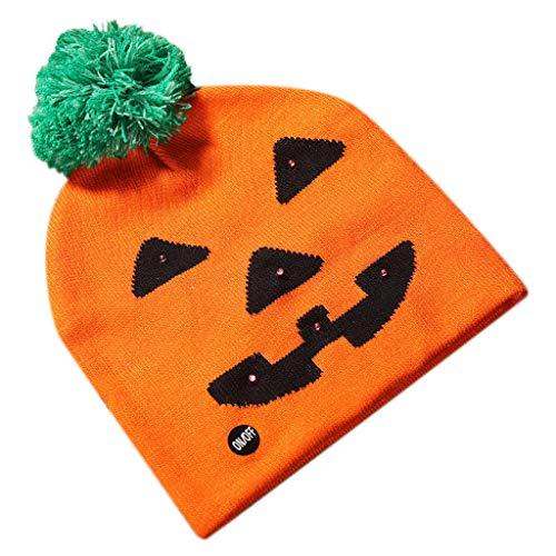 Floweworld Unisex Halloween Shiny Strickmütze Kinder Erwachsenen Hut Party Pumpkin Ghost Mit Mütze Winter Warme Strickmütze für Halloween
