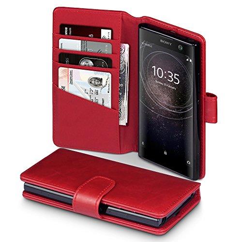 Terrapin, Kompatibel mit Sony Xperia XA2 Hülle, [ECHT LEDER] Brieftasche Case Tasche mit Standfunktion Kartenfächer und Bargeld - Rot