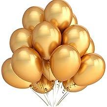PuTwo Palloncini Party 12 Inch 100 Pack Colore Oro Latex Balloonsfor Bambini Partito Decorazioni Decorazione Matrimonio Doccia Baby o Compleanno Decorazione - Oro