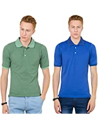 Thriller Frog Solid Men's Polo Neck Grass Green And Blue T-Shirt