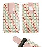 emartbuy Rosa Sterne Premium-Pu-Leder-Slide In Case Abdeckung Tashe Hülle Sleeve Halter (Größe 5XL) Mit Zuglaschen Mechanismus Geeignet Für Die Unten Aufgeführten Smartphones