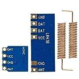 Mini 433 Mhz RF Sender Empfänger Modul Brett drahtlos Link-Kit mit Kupferfeder Antenne für Arduino (blau + schwarz)