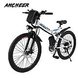 ANCHEER Elektrofahrrad Faltbares Mountainbike, 26 Zoll Reifen Elektrisches Fahrrad Ebike mit 250W bürstenlosem Motor und 36V 8Ah Lithium-Batterie Shimano 21-Gang (weiß-)