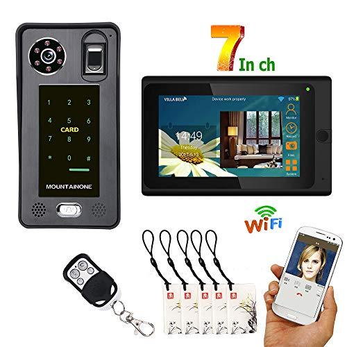 Video Türklingel Wired WiFi Intercom Fingerprint IC-Karte Zutrittskontrollsystem im Freien Wasserdichte Nachtsicht Kameraüberwachung Unterstützung Remote APP Entsperren Aufnahme Snapshot IOS / Android (Türklingel Wired)