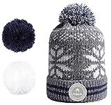 Cabaia Perroquet Mütze Herren Männer, warme, mehrfarbige Bommelmütze mit Schneeflocken-Muster, Strickmütze und Fleece-Einsatz,Gray