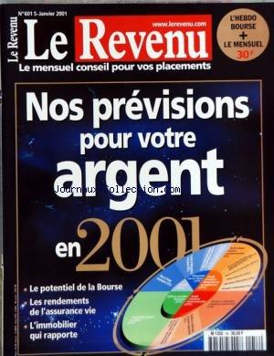 REVENU (LE) du 01/01/2001 - NOS PREVISIONS POUR VOTRE ARGENT EN 2001 par Collectif