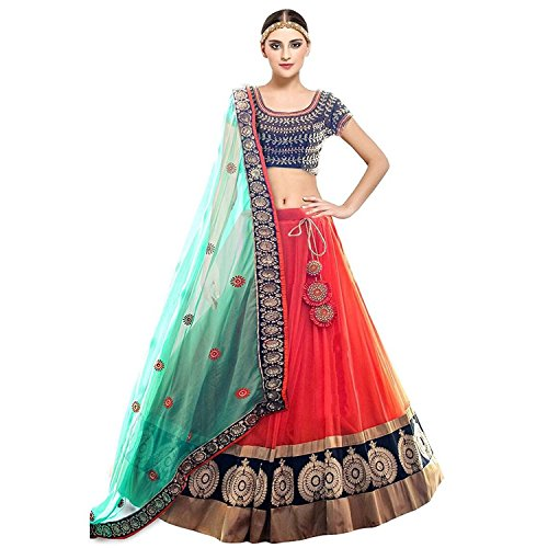 Salwar Style Women\'s Banglori Silk Embroidered Semi-stitched Lehenga Choli (D26SS_Orange and Blue_Free Size)