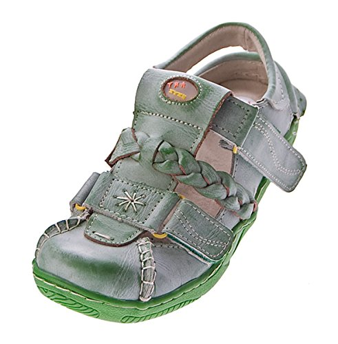 TMA Damen Leder Sandalen Comfort Schuhe Used-Look echt Leder Ballerinas Slipper TMA 1335 Gr. 36 - 42 Grün