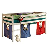 IDIMEX Hochbett Spielbett für Kinder ERIK Kiefer massiv weiß lackiert mit Vorhangset & Rollrost 90 x 200 cm (B x L)