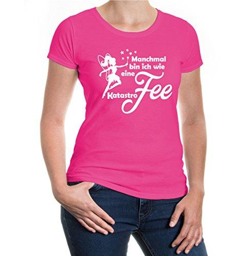 buXsbaum® Damen Kurzarm Girlie T-Shirt bedruckt Manchmal bin ich wie eine KatastroFEE | Spruch Mädchen Fee | XXL fuchsia-white Rosa