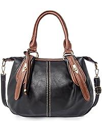LWK Women Handbags Classic PU Leather Handbags Zipper Shoulder Bags Crossbody Messenger Bags 280 Black