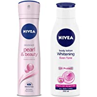 NIVEA Deodorant, Pearl & Beauty, Women, 150ml And NIVEA Body Lotion, Whitening Even Tone UV Protect, 200ml