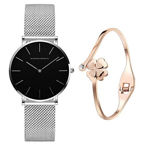 XLORDX Classic Damen-Armbanduhr Analog Quarz Silber Edelstahl Armband, Schwarz Zifferblatt mit Elegant Rosegold Armband (Schwarz Zifferblatt)