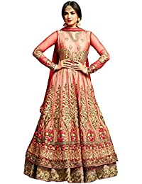 Like A Diva Peachish Red Floral Embroidered Net Floor Length Layered Anarkali Semi Stitched Dress Material For Women