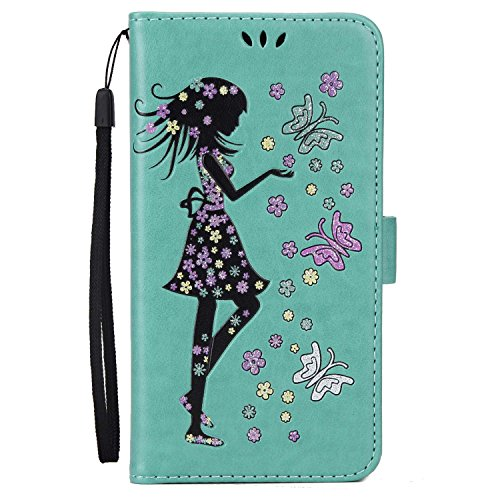 iPhone 7 Plus Hülle,MSK® iPhone 7 Plus Handyhülle Wallet Case Cover Tasche [Schmetterlings Mädchen] Brieftasche Flip Hülle im Bookstyle Cover Schale Etui Karten Slot Schutzhülle Für iPhone 7 Plus Lede Grün