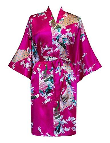 Surenow Kimono per Donna Vestaglia Pavone Esotici Raso Serico Fiore Kimono Accappatoio (Facile Primavera)