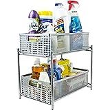 Callas 2-Tier Sliding Cabinet Basket Kitchen Organizer, CA2655, White