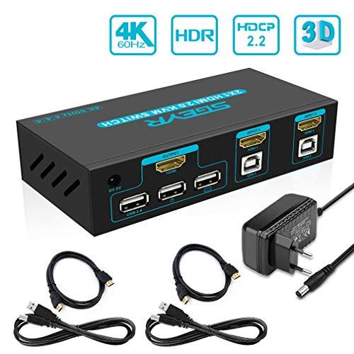 SGEYR 2x1 Port HDMI KVM Switch 4K 60Hz USB KVM Umschalter HDMI 2 In 1 Out mit Tastatur Maus Schalter|Auto Scan|USB2.0 Hub|Kabel Kits|Unterstützung HDCP 2.2 4K 2K 3D 1080P HDMI 2.0 YUV4:4:4