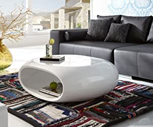 salesfever couchtisch hochglanz wei oval ufo. Black Bedroom Furniture Sets. Home Design Ideas