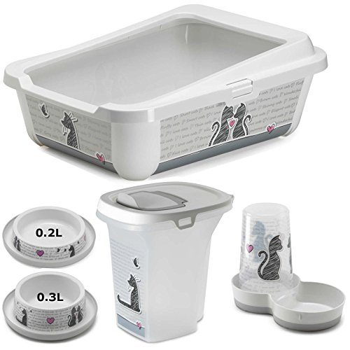 Cat Dinner & Toilet Set: Tray + Feeder + Storage Box + 0.2L Bowl + 0.3L Bowl From Cats in Love Collection
