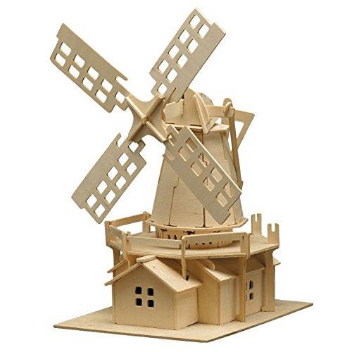 matches21 Holz Bausatz Windmühle 78-tlg. 25x38 cm Steckbausatz f. Kinder Holzbausatz