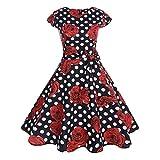 Annata 1952 retrò Rockabilly Polka Vestito da Audery Swing Senza Maniche Abito da Cocktail Partito