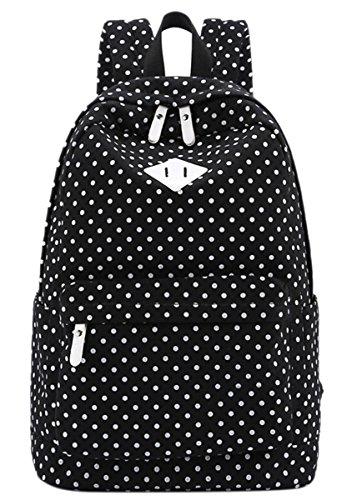 Panegy Damen Mädchen Mode Design Drucken Punkt Canvas Schulrucksack Laptop Reisen Rucksack für Outdoor Camping Picknick Außflug Sports Backpack - Schwarz
