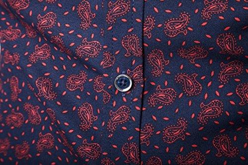 J - NEGOZIO Abbigliamento Uomo, T Shirt Uomo Maniche Lunghe Camicia Uomo, Camicetta da Uomo A Maniche Lunghe con Stampa Camicia Casual da Uomo Vino Rosso