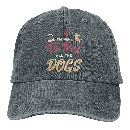 flys Baseball Cap Ich Bin Hier, um alle Hunde Frauen Baseball Cap Einstellbare Plain Cap zu streicheln (Hunde Kegel Kostüm)