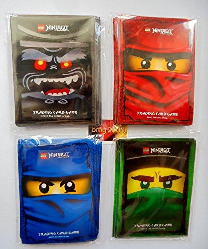 Lego Ninjago Trading Card Game: 120 Hüllen - Kartenhüllen mit Motiv Rot Blau Grün Schwarz + 1 bmg2000 Aufkleber / Sleeves für Karten / Neu (Blaue Lego Ninjago)
