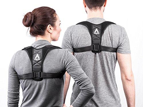 Athletics Armour Haltungskorrektur - Geradehalter für Rücken und Schultern für Damen, Herren und Kinder - orthopädischer Rückengurt mit Extra Schaumstoffpolstern für Mehr Tragekomfort (S/M 70-95 cm)