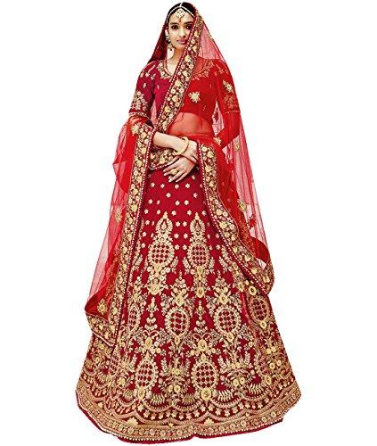 Indian Ethnicwear Bollywood Pakistani Wedding Red A-line Lehenga Un-stitched