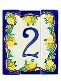 Hausnummern aus Keramik, Hausnummern mit Zitronen, Keramikdübel Nr. 1 Maße: Höhe 15 cm, Gesamtbreite 13 cm