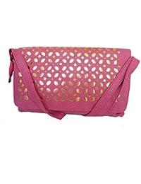 Good Life Stuff High Quality Leatherette Sling Bag Shoulder Bag Cross Bag Handbag For Women In Pink (GLSSL-4084)