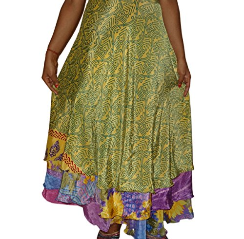 Bigfashionshop Womens Long Skirt Reversible 2 Layer Silk Sari Magic Wrap Skirt  available at amazon for Rs.330