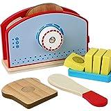 B&Julian Holz Spielzeug Toaster mit Toastscheibe Messer Butterdose Zubehör 9-teiliges Set für Kinderküche
