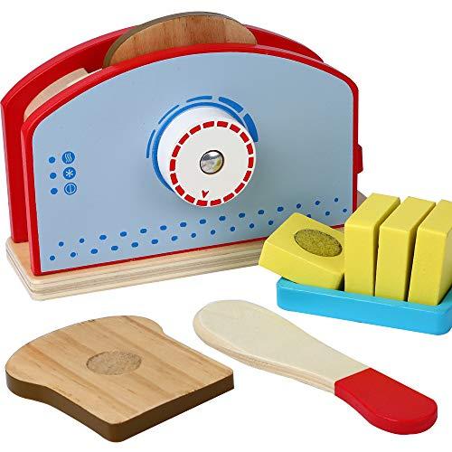 ter für Kinderküche mit Brotscheiben Holzmesser Zubehör 9-TLG. Küchenspielzeug Set Spielzeug Frühstücksset Spielküche Kinder ()