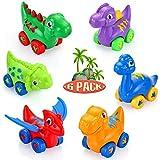 VATOS Baby Dinosaurier Spielzeugauto, 6er Pack Zurückziehen Auto für 1 2 3 Jahre alte Jungen & Mädchen, Mini Spielzeug Tierreibungsgetriebenes Auto ziehen Fahrzeug Tierauto für Geschenk Kinder
